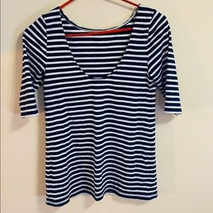 Old Navy | Nautical 3/4 Sleeved Low Back Shirt